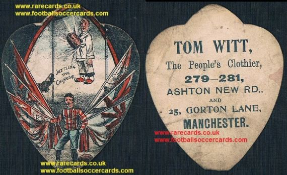 1899 1900 Boxer rebellion China Britain rugby card by Tom Witt, anti-Chinese propaganda card